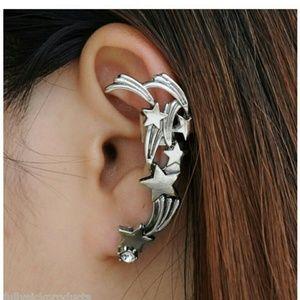 Silver tone Star earcuff with pierced stud New
